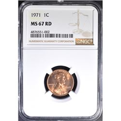 1971 LINCOLN CENT, NGC MS-67 RED