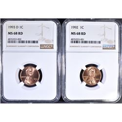 1992 & 1993-D LINCOLN CENTS, NGC MS-68 RED