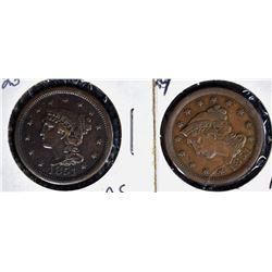 2-1851 LARGE CENTS: N-23 XF & N-29 VF+