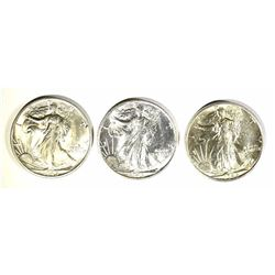3 - 1945-S WALKING LIBERTY HALF DOLLARS