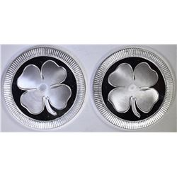 2-FOUR LEAF CLOVER 1oz .999 SILVER ROUNDS