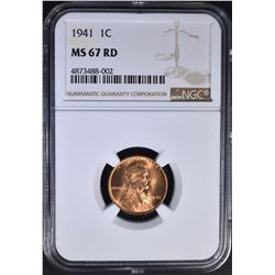 1941 LINCOLN CENT, NGC MS-67 RED