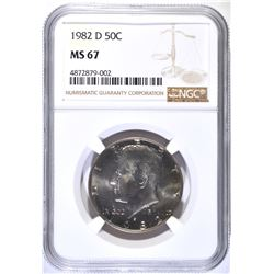 1982-D KENNEDY HALF DOLLAR, NGC MS-67