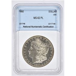 1892 MORGAN DOLLAR, NNC  BU PL