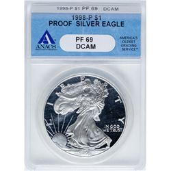 1998-P $1 Proof American Silver Eagle Coin ANACS PF69DCAM