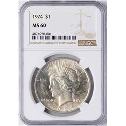1924 $1 Peace Silver Dollar Coin NGC MS60