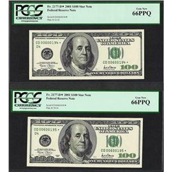 Lot of (2) Consecutive 2001 $100 Federal Reserve STAR Notes PCGS Gem New 66PPQ