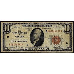 1929 $10 Federal Reserve Note New York