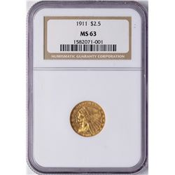 1911 $2 1/2 Indian Head Quarter Eagle Gold Coin NGC MS63
