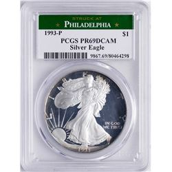 1993-P $1 Proof American Silver Eagle Coin PCGS PR69 DCAM