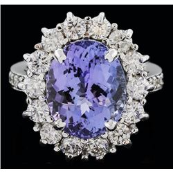 14KT White Gold 7.59 ctw Tanzanite and Diamond Ring