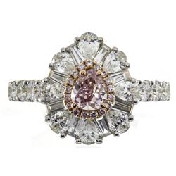 0.23 ctw Fancy Pink Diamond Ring - 18KT Two-Tone Gold
