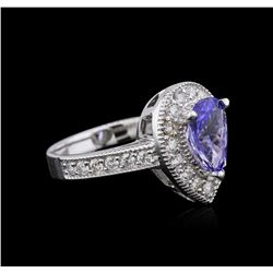 14KT White Gold 1.63 ctw Tanzanite and Diamond Ring