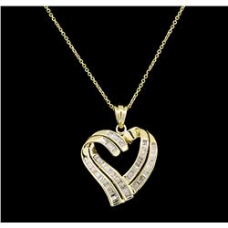 1.00 ctw Diamond Pendant With Chain - 14KT Yellow Gold
