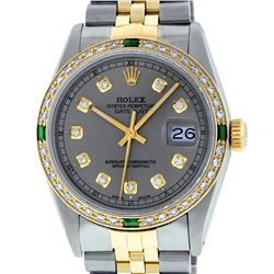 Rolex Mens 2 Tone 14K Slate Grey & Emerald Diamond Datejust Wriswatch
