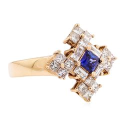 1.16 ctw Sapphire And Diamond Ring - 14KT Rose Gold