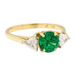 1.57 ctw Emerald And Diamond Ring - 18KT Yellow Gold
