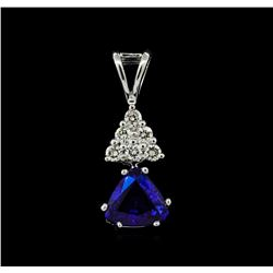 1.01 ctw Blue Sapphire and Diamond Pendant - 14KT White Gold