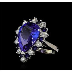 10.02 ctw Tanzanite, Blue Sapphire, and Diamond Ring - 14KT White Gold