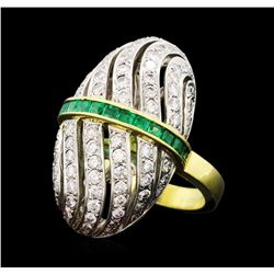 1.81 ctw Diamond and Emerald Ring - 18KT Yellow and White Gold
