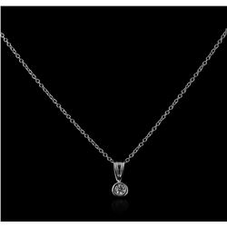 14KT White Gold 0.10 ctw Diamond Solitaire Pendant With Chain