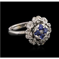14KT White Gold 0.58 ctw Tanzanite and Diamond Ring