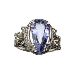 APP: 16.3k 14 KT. White Gold 5.02CT Pear Cut Tanzanite And 0.10CT Round Cut Diamond Ring