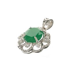 APP: 3.7k Fine Jewerly 4.10CT Oval Cut Green Emerald And White Sapphire Sterling Silver Pendant