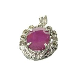 Fine Jewelry Designer Sebastian 11.30CT Oval Cut Ruby And Platinum Over Sterling Silver Pendant
