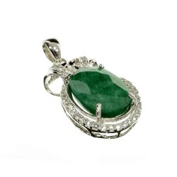 APP: 3k Fine Jewelry 7.42CT Green Beryl Emerald And Topaz Platinum Over Sterling Silver Pendant