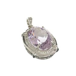 APP: 1.2k Fine Jewelry 12.00CT Oval Cut Amethyst And White Sapphire Sterling Silver Pendant