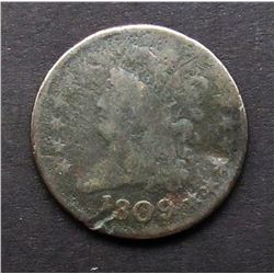 1809 DRAPPED BUST HALF CENT AG