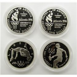 4- 1996 SILVER PROOF COMMEM DOLLARS: