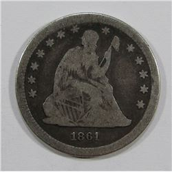 1861 SEATED QUARTER