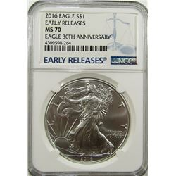 2016 AMERICAN SILVER EAGLE NGC MS70 EARLY RELEASE