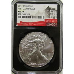2017 AMERICAN SILVER EAGLE NGC MS70 1st DAY ISSUE