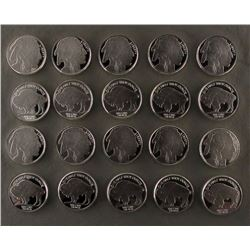 20 - 1/2 ozt .999 SILVER BUFFALO ROUNDS - PROOFS