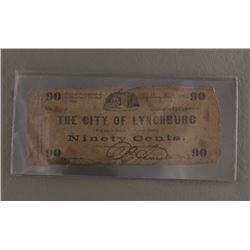 1862 90¢ NOTE- THE CITY OF LYNCHBURG