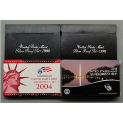 4 U.S. SILVER PROOF SETS - MIX YEARS