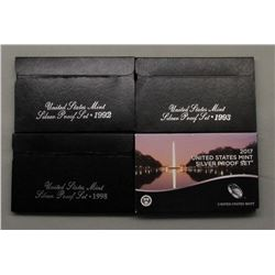 4 U.S. SILVER PROOF SETS MIX YEARS
