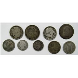 9-SILVER FOREIGN 1800s COINS