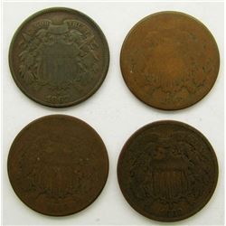 1866, '67, '68, ' 69 TWO CENT PIECES