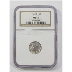 1949-S ROOSEVELT DIME NGC MS66 KEY DATE