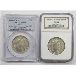 1946-D BOOKER T NGC MS64 & 1952 WASH-CARV
