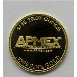 ONE TENTH OUNCE .999 GOLD AMPEX PROOF COIN