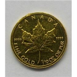 1999 ONE TENTH OUNCE GOLD MAPLE LEAF