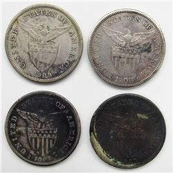 4 -US PHILIPPINES SILVER ONE PESO COINS