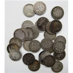 30 - EARLY 1900'S CANADIAN SILVER DIMES CIRCS