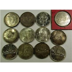 12 - CANADIAN SILVER DOLLARS - CIRC OR BETTER