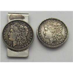 2- Morgan Silver Dollars key chain, pendant